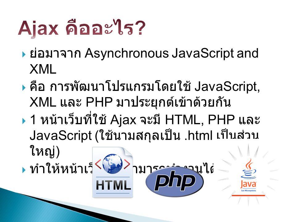  ย่อมาจาก Asynchronous JavaScript and XML  คือ การพัฒนาโปรแกรมโดยใช้ JavaScript, XML และ PHP มาประยุกต์เข้าด้วยกัน  1 หน้าเว็บที่ใช้ Ajax จะมี HTML