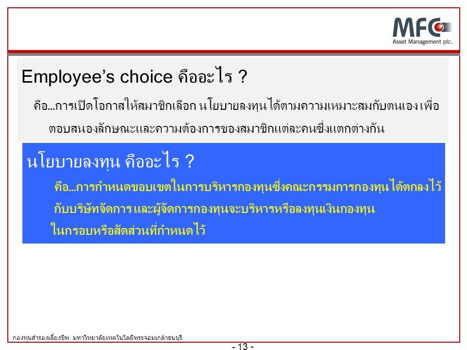 กองทุนสำรองเลี้ยงชีพ มหาวิทยาลัยเทคโนโลยีพระจอมเกล้าธนบุรี 2. คำและความหมายที่น่ารู้ใน การเลือกนโยบายการลงทุนของสมาชิก  Employee's Choice  นโยบายการ