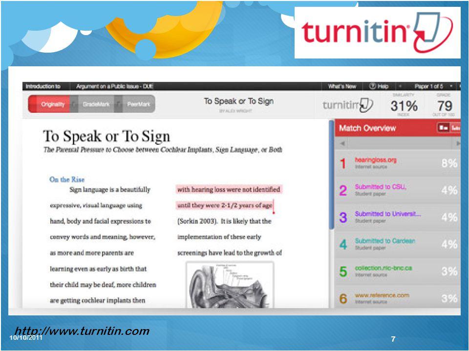 http://www.turnitin.com 10/10/2011 7