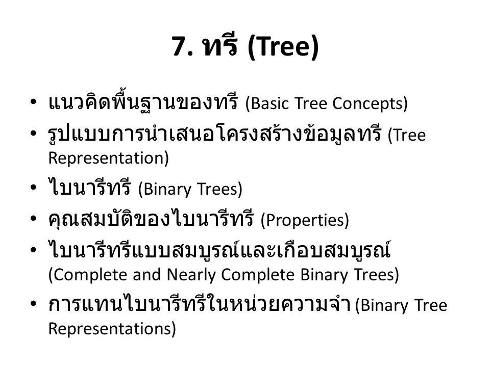 7. ทรี (Tree) • แนวคิดพื้นฐานของทรี (Basic Tree Concepts) • รูปแบบการนำเสนอโครงสร้างข้อมูลทรี (Tree Representation) • ไบนารีทรี (Binary Trees) • คุณสม