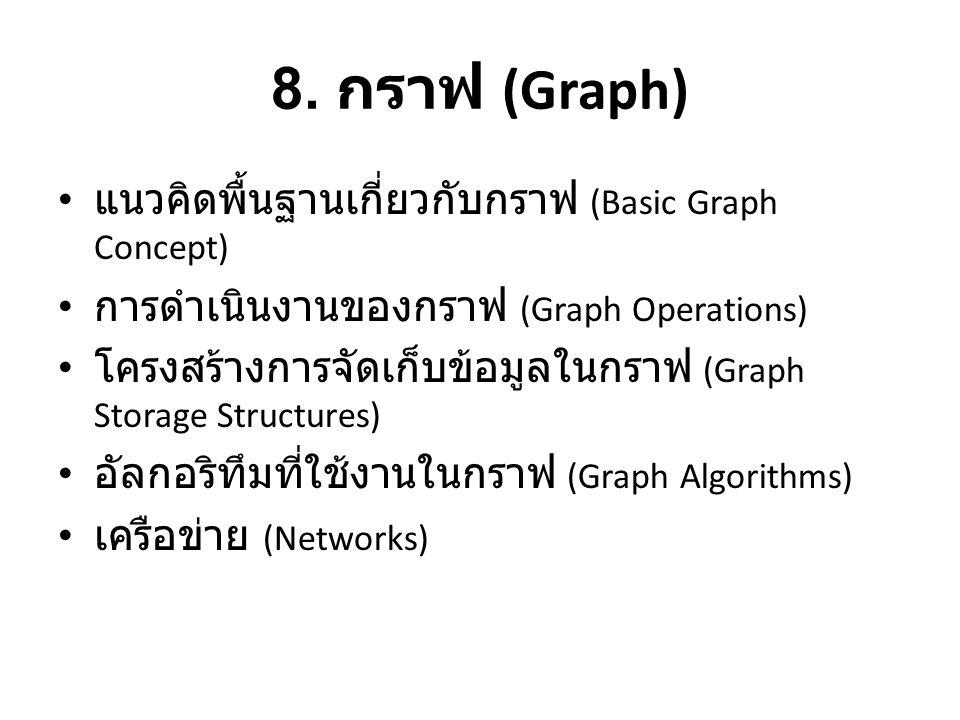 8. กราฟ (Graph) • แนวคิดพื้นฐานเกี่ยวกับกราฟ (Basic Graph Concept) • การดำเนินงานของกราฟ (Graph Operations) • โครงสร้างการจัดเก็บข้อมูลในกราฟ (Graph S