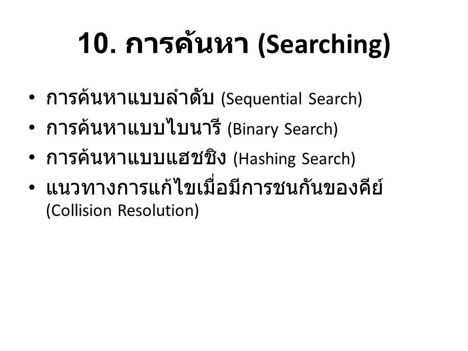 10. การค้นหา (Searching) • การค้นหาแบบลำดับ (Sequential Search) • การค้นหาแบบไบนารี (Binary Search) • การค้นหาแบบแฮชชิง (Hashing Search) • แนวทางการแก