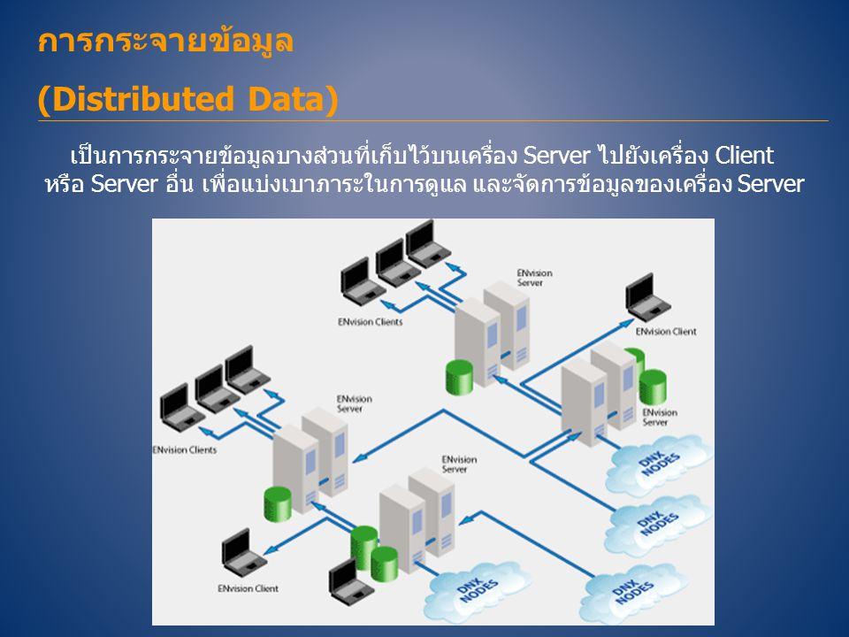 การกระจายข้อมูล (Distributed Data) เป็นการกระจายข้อมูลบางส่วนที่เก็บไว้บนเครื่อง Server ไปยังเครื่อง Client หรือ Server อื่น เพื่อแบ่งเบาภาระในการดูแล