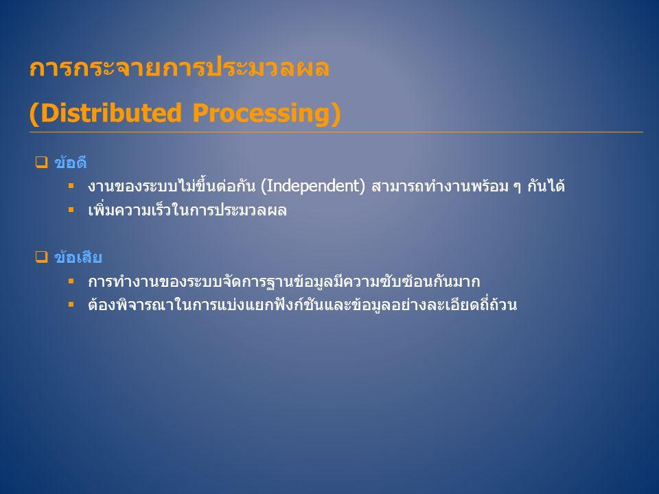 การกระจายการประมวลผล (Distributed Processing)  ข้อดี  งานของระบบไม่ขึ้นต่อกัน (Independent) สามารถทำงานพร้อม ๆ กันได้  เพิ่มความเร็วในการประมวลผล 