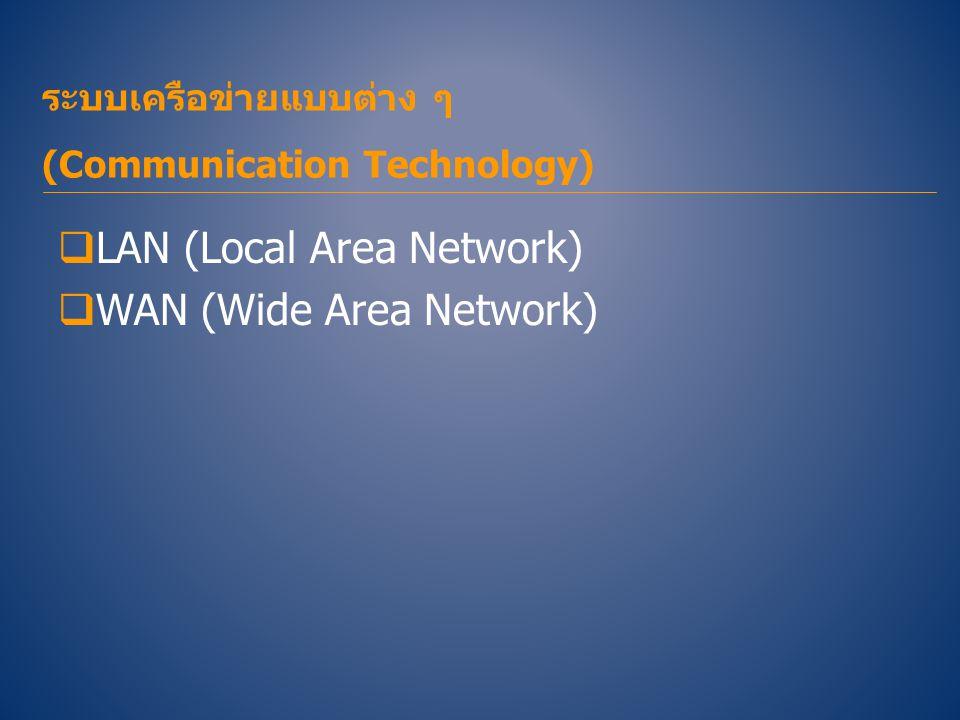 ระบบเครือข่ายแบบต่าง ๆ (Communication Technology)  LAN (Local Area Network)  WAN (Wide Area Network)
