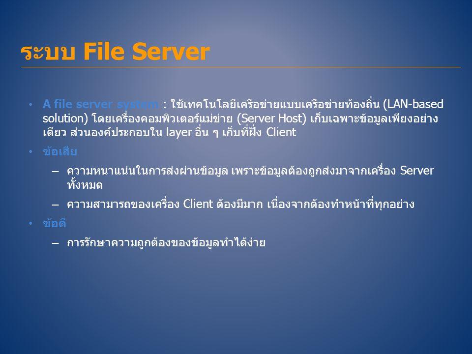 • A file server system : ใช้เทคโนโลยีเครือข่ายแบบเครือข่ายท้องถิ่น (LAN-based solution) โดยเครื่องคอมพิวเตอร์แม่ข่าย (Server Host) เก็บเฉพาะข้อมูลเพีย