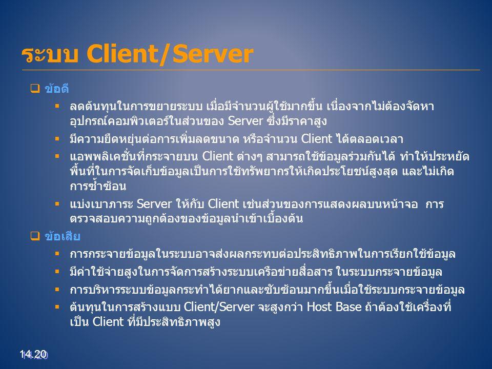 ระบบ Client/Server 14.20  ข้อดี  ลดต้นทุนในการขยายระบบ เมื่อมีจำนวนผู้ใช้มากขึ้น เนื่องจากไม่ต้องจัดหา อุปกรณ์คอมพิวเตอร์ในส่วนของ Server ซึ่งมีราคา