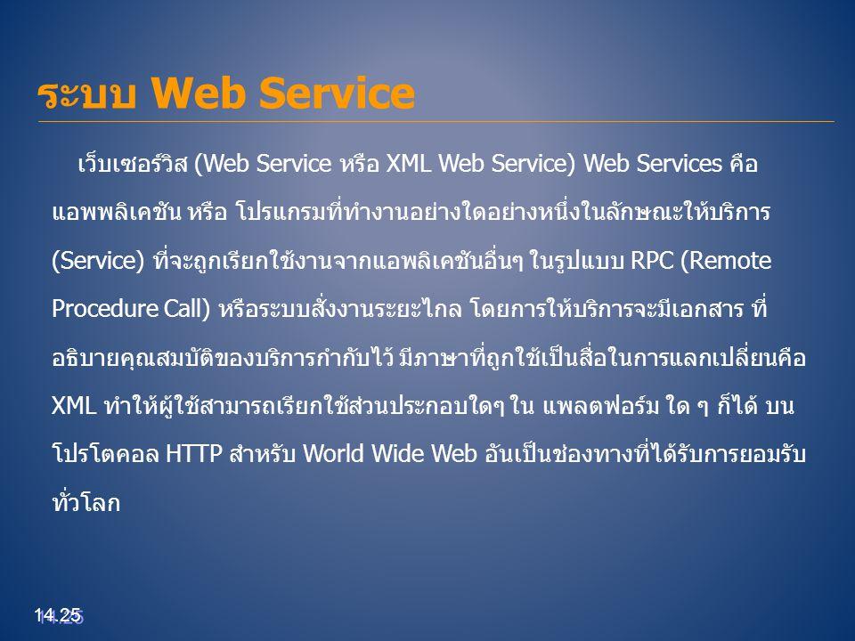 ระบบ Web Service 14.25 เว็บเซอร์วิส (Web Service หรือ XML Web Service) Web Services คือ แอพพลิเคชัน หรือ โปรแกรมที่ทำงานอย่างใดอย่างหนึ่งในลักษณะให้บร