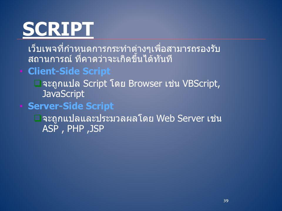 เว็บเพจที่กำหนดการกระทำต่างๆเพื่อสามารถรองรับ สถานการณ์ ที่คาดว่าจะเกิดขึ้นได้ทันที • Client-Side Script  จะถูกแปล Script โดย Browser เช่น VBScript,