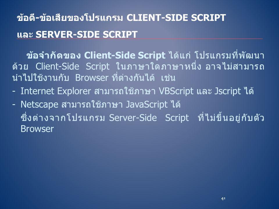 ข้อจำกัดของ Client-Side Script ได้แก่ โปรแกรมที่พัฒนา ด้วย Client-Side Script ในภาษาใดภาษาหนึ่ง อาจไม่สามารถ นำไปใช้งานกับ Browser ที่ต่างกันได้ เช่น