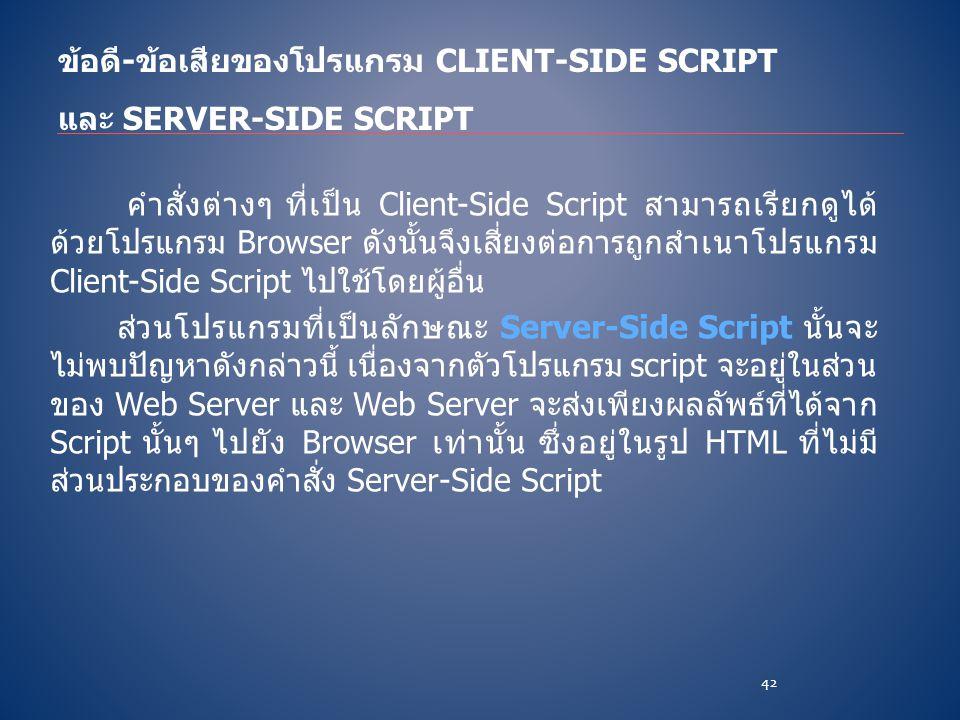 คำสั่งต่างๆ ที่เป็น Client-Side Script สามารถเรียกดูได้ ด้วยโปรแกรม Browser ดังนั้นจึงเสี่ยงต่อการถูกสำเนาโปรแกรม Client-Side Script ไปใช้โดยผู้อื่น ส