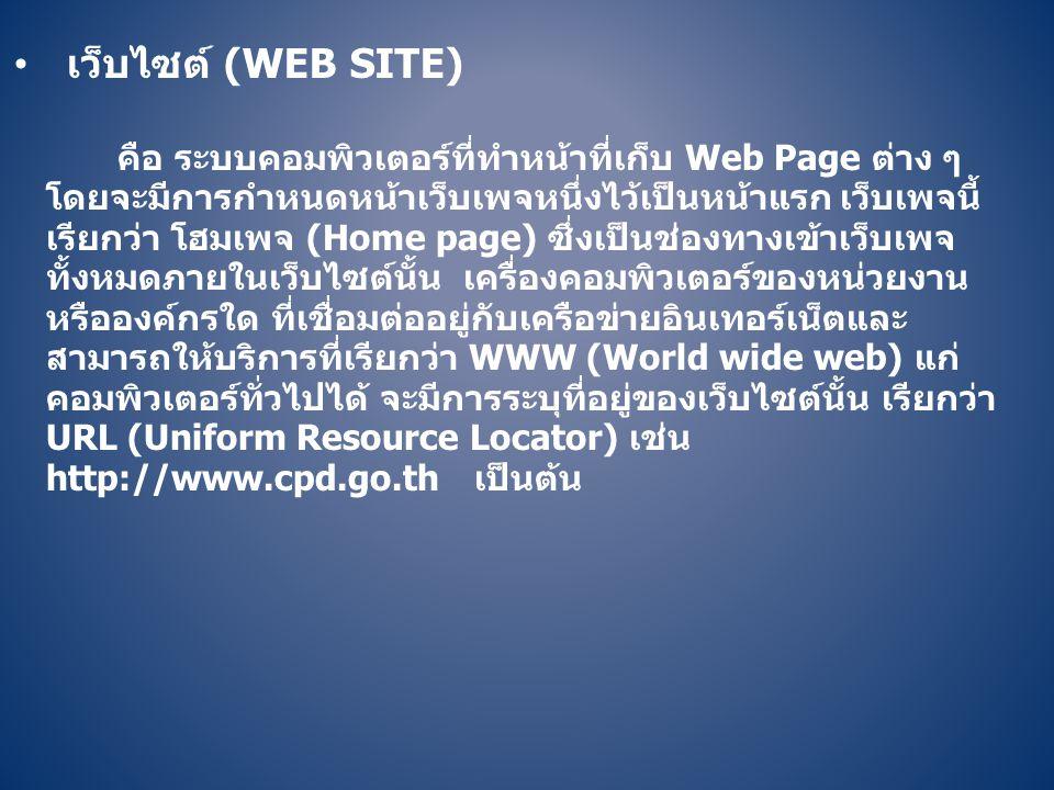 • เว็บไซต์ (WEB SITE) คือ ระบบคอมพิวเตอร์ที่ทำหน้าที่เก็บ Web Page ต่าง ๆ โดยจะมีการกำหนดหน้าเว็บเพจหนึ่งไว้เป็นหน้าแรก เว็บเพจนี้ เรียกว่า โฮมเพจ (Ho