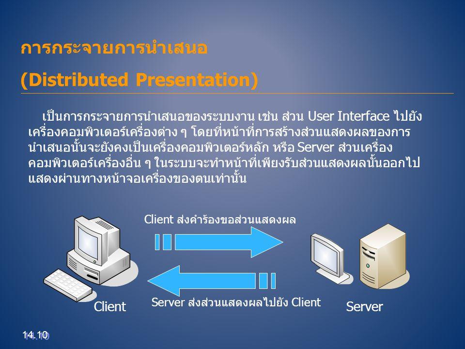การกระจายการนำเสนอ (Distributed Presentation)  ข้อดี  สามารถเรียกดูข้อมูลที่ต้องการได้โดยไม่ต้องไปยังเครื่องที่เก็บระบบงาน  สามารถเรียกใช้งานได้พร้อม ๆ กัน  ผู้ออกแบบสามารถพัฒนาระบบได้อย่างอิสระโดยไม่ต้องสนใจผลข้างเคียงที่จะเกิด ขึ้นกับเครื่อง Client  ข้อเสีย  เครื่องที่ทำหน้าที่เก็บข้อมูลและประมวลผลยังคงทำงานหนักเช่นเดิม  ปัญหาด้านความหนาแน่นของการจราจรของข้อมูลที่ส่งไปมาระหว่างเครื่อง คอมพิวเตอร์หากมีมากจะทำให้การแสดงผลที่เครื่อง Client ช้าลง