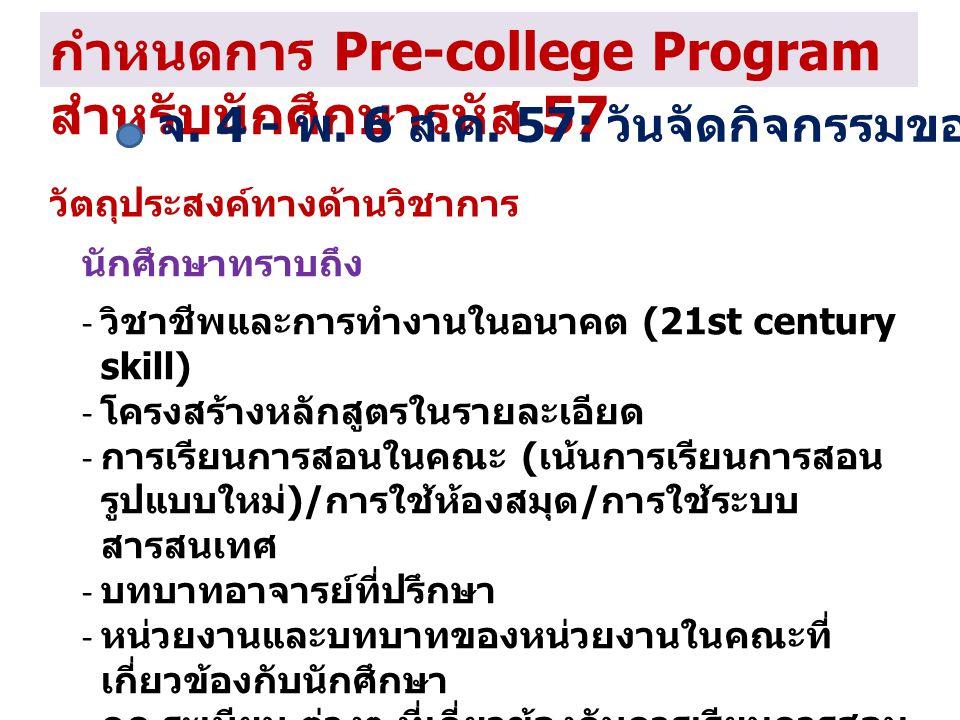 กำหนดการ Pre-college Program สำหรับนักศึกษารหัส 57 จ. 4 - พ. 6 ส. ค. 57: วันจัดกิจกรรมของคณะ / วิทยาลัย วัตถุประสงค์ทางด้านวิชาการ นักศึกษาทราบถึง - ว