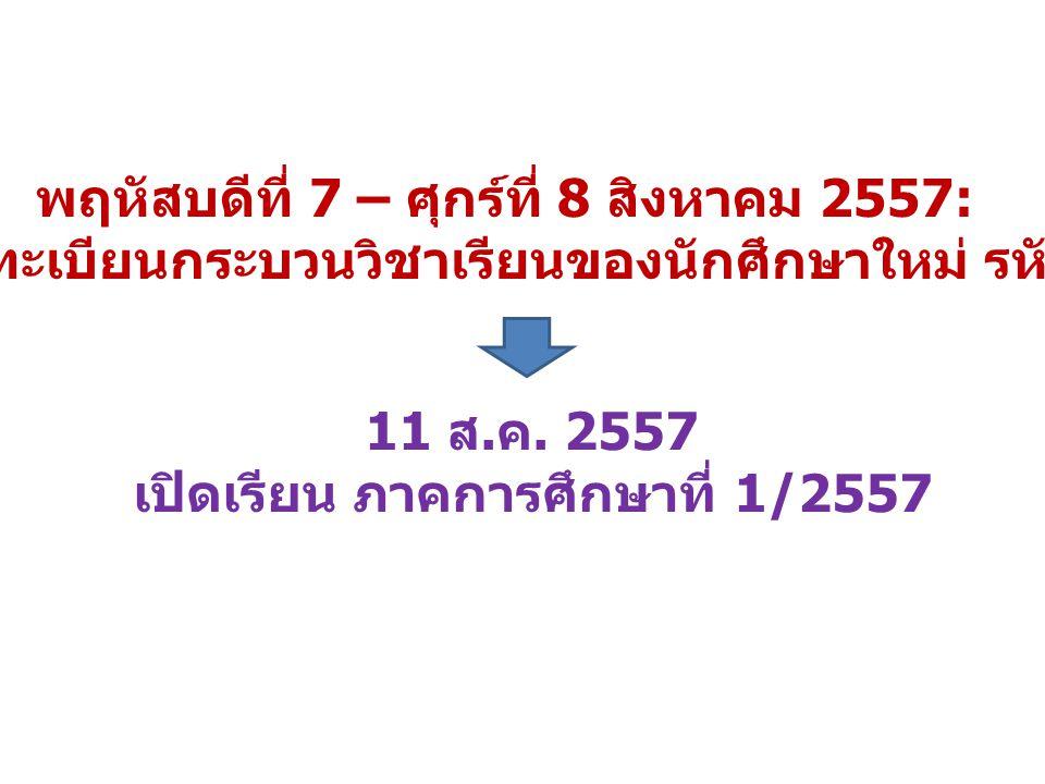 พฤหัสบดีที่ 7 – ศุกร์ที่ 8 สิงหาคม 2557: วันลงทะเบียนกระบวนวิชาเรียนของนักศึกษาใหม่ รหัส 57 11 ส. ค. 2557 เปิดเรียน ภาคการศึกษาที่ 1/2557