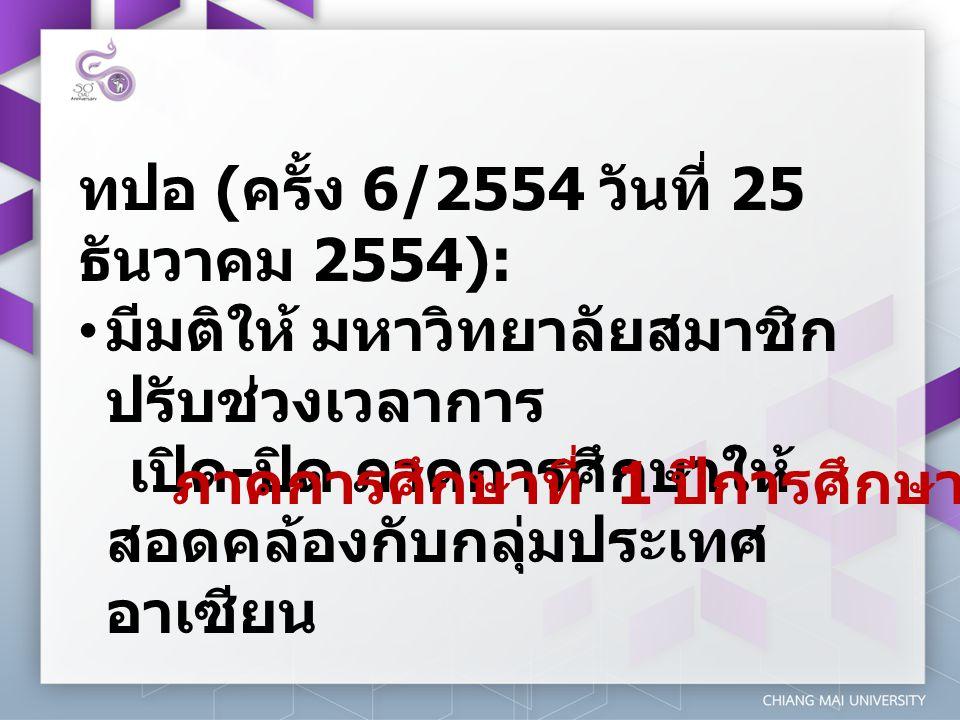 ทปอ ( ครั้ง 6/2554 วันที่ 25 ธันวาคม 2554): • มีมติให้ มหาวิทยาลัยสมาชิก ปรับช่วงเวลาการ เปิด - ปิด ภาคการศึกษาให้ สอดคล้องกับกลุ่มประเทศ อาเซียน ภาคก