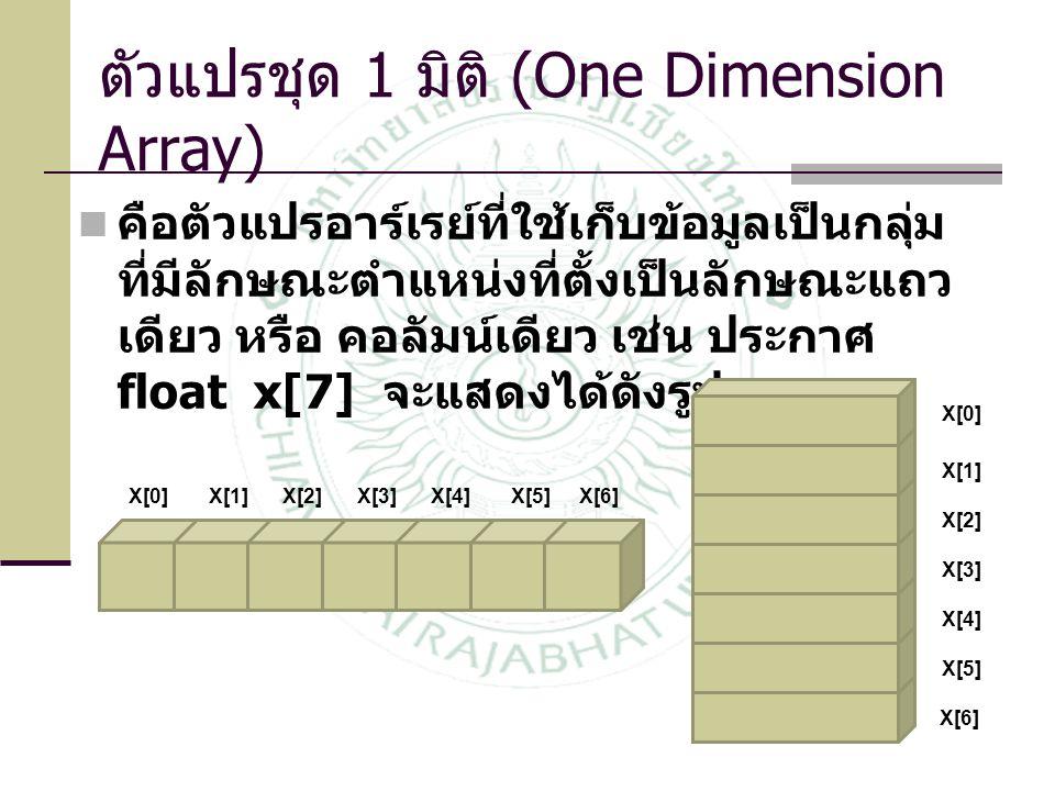 ตัวแปรชุด 1 มิติ (One Dimension Array)  คือตัวแปรอาร์เรย์ที่ใช้เก็บข้อมูลเป็นกลุ่ม ที่มีลักษณะตำแหน่งที่ตั้งเป็นลักษณะแถว เดียว หรือ คอลัมน์เดียว เช่น ประกาศ float x[7] จะแสดงได้ดังรูป X[0] X[1]X[2]X[3]X[4]X[5]X[6] X[1] X[2] X[3] X[4] X[5] X[6]