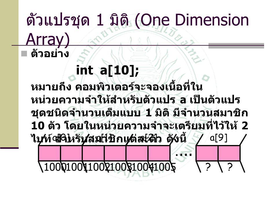 ตัวแปรชุด 1 มิติ (One Dimension Array)  ตัวอย่าง int a[10]; หมายถึง คอมพิวเตอร์จะจองเนื้อที่ใน หน่วยความจำให้สำหรับตัวแปร a เป็นตัวแปร ชุดชนิดจำนวนเต็มแบบ 1 มิติ มีจำนวนสมาชิก 10 ตัว โดยในหน่วยความจำจะเตรียมที่ไว้ให้ 2 ไบท์ สำหรับสมาชิกแต่ละตัว ดังนี้....