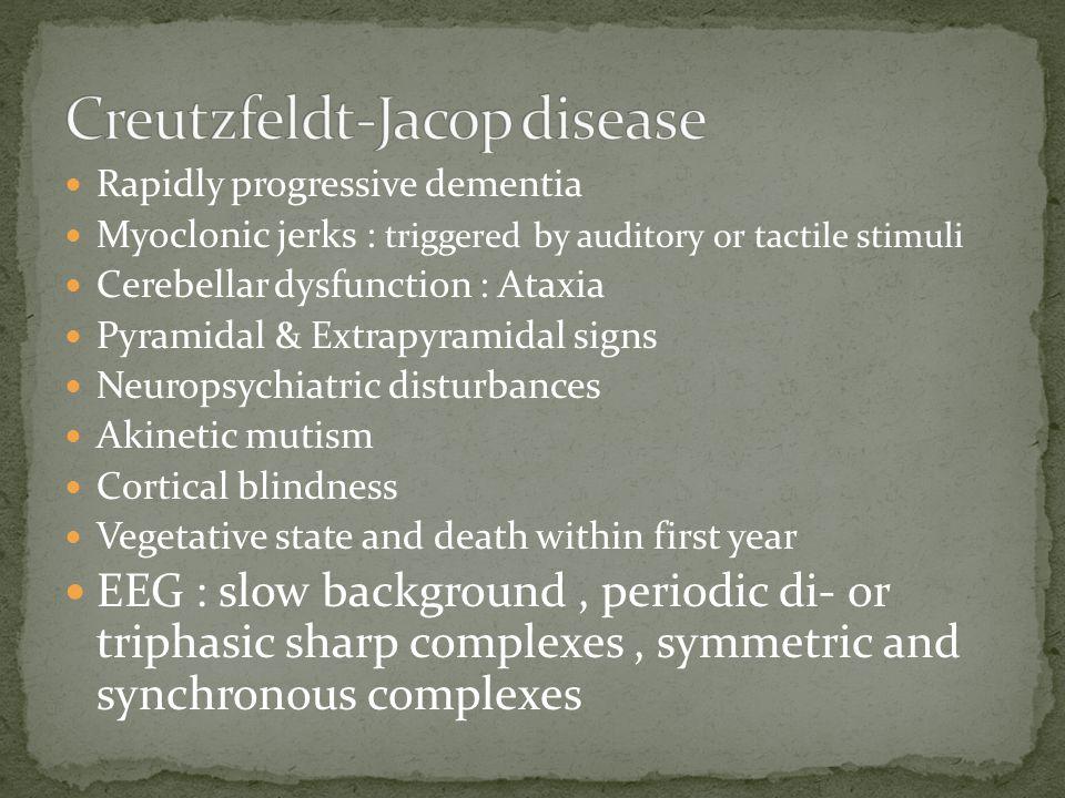  Dementia Pugilistica : นักมวย  Pellagra : vitamin B6, B12 deficiencies  Wernicke's : thiamine deficiencies  Chronic subdural hematoma  Binswanger's disease : โรคความดันโลหิตสูง  Dialysis demantia : โรคไตวาย  AIDS-demantia complex  Alzheimer's disease  Parkinson's disease