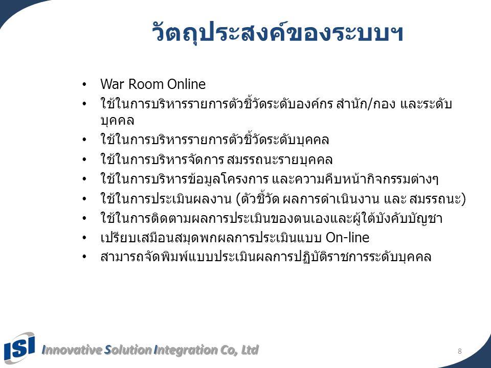 Innovative Solution Integration Co, Ltd 8 วัตถุประสงค์ของระบบฯ • War Room Online • ใช้ในการบริหารรายการตัวชี้วัดระดับองค์กร สำนัก/กอง และระดับ บุคคล •
