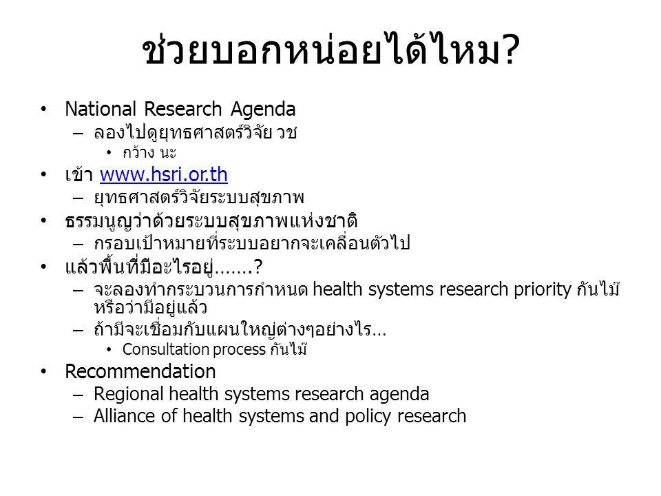 ช่วยบอกหน่อยได้ไหม? • National Research Agenda – ลองไปดูยุทธศาสตร์วิจัย วช • กว้าง นะ • เข้า www.hsri.or.thwww.hsri.or.th – ยุทธศาสตร์วิจัยระบบสุขภาพ