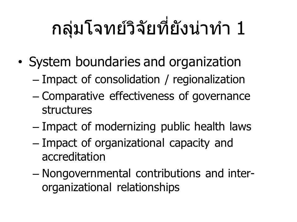 กลุ่มโจทย์วิจัยที่ยังน่าทำ 1 • System boundaries and organization – Impact of consolidation / regionalization – Comparative effectiveness of governanc