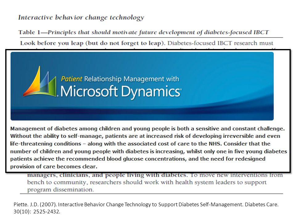 Piette. J.D. (2007). Interactive Behavior Change Technology to Support Diabetes Self-Management. Diabetes Care. 30(10): 2525-2432.