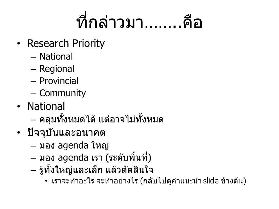 ที่กล่าวมา……..คือ • Research Priority – National – Regional – Provincial – Community • National – คลุมทั้งหมดได้ แต่อาจไม่ทั้งหมด • ปัจจุบันและอนาคต –