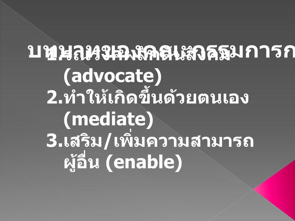 1.รณรงค์ผลักดันสังคม (advocate) 2. ทำให้เกิดขึ้นด้วยตนเอง (mediate) 3.