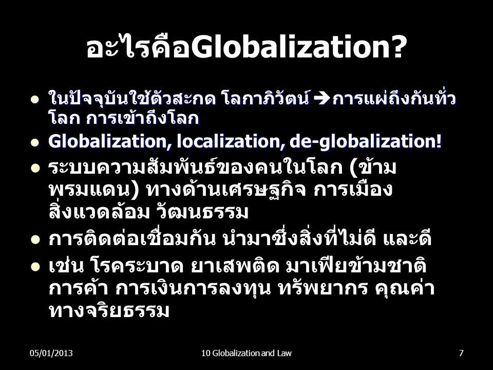 อะไรคือGlobalization?  ในปัจจุบันใช้ตัวสะกด โลกาภิวัตน์  การแผ่ถึงกันทั่ว โลก การเข้าถึงโลก  Globalization, localization, de-globalization!  ระบบค