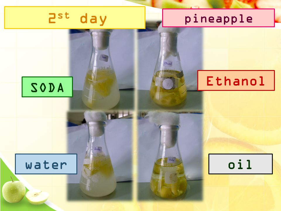 SODA Ethanol wateroil 2 st day pineapple