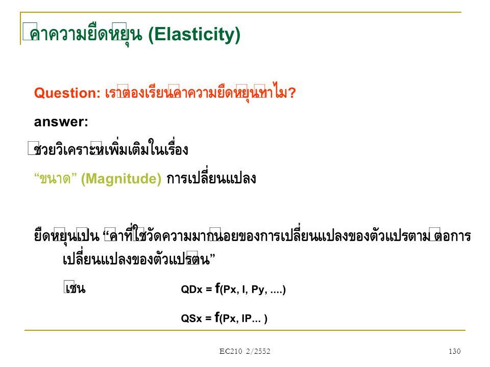"""EC210 2/2552 ค่าความยืดหยุ่น (Elasticity) Question: เราต้องเรียนค่าความยืดหยุ่นทำไม ? answer: ช่วยวิเคราะห์เพิ่มเติมในเรื่อง """" ขนาด """" (Magnitude) การเ"""
