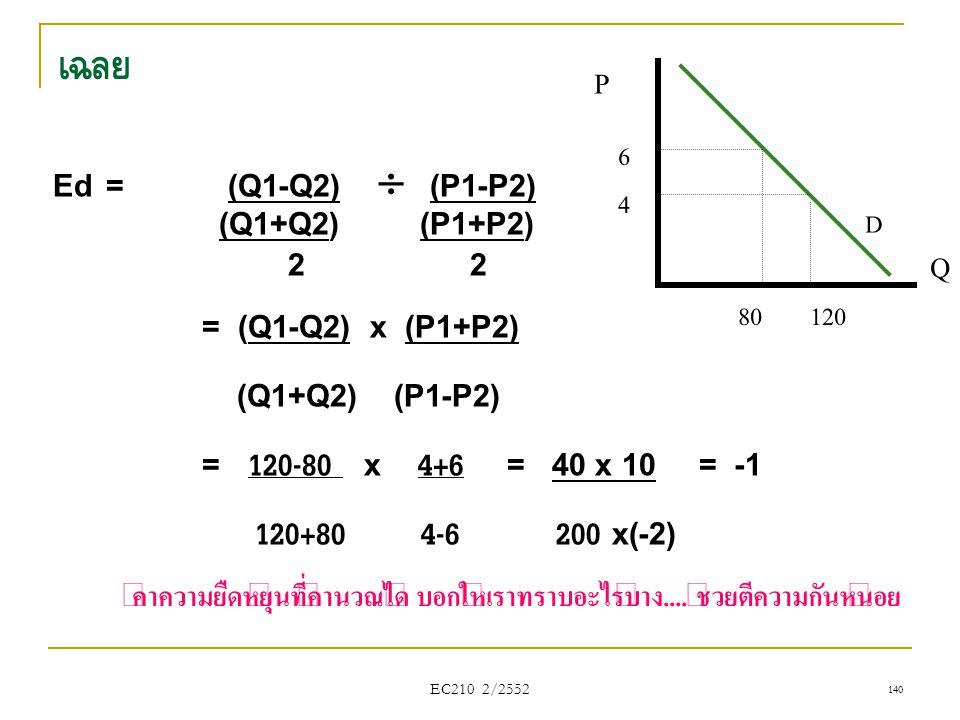 EC210 2/2552 เฉลย Ed = (Q1-Q2)  (P1-P2) (Q1+Q2) (P1+P2) 2 2 = (Q1-Q2) x (P1+P2) (Q1+Q2) (P1-P2) = 120-80 x 4+6 = 40 x 10 = -1 120+80 4-6 200 x(-2) ค่
