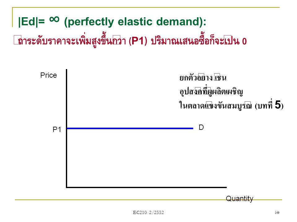 EC210 2/2552 |Ed|= ∞ (perfectly elastic demand): ถ้าระดับราคาจะเพิ่มสูงขึ้นกว่า ( P1) ปริมาณเสนอซื้อก็จะเป็น 0 Price Quantity D P1 149 ยกตัวอย่าง เช่น