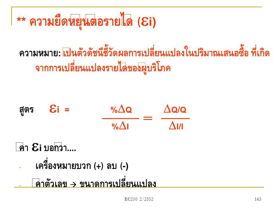 EC210 2/2552 ** ความยืดหยุ่นต่อรายได้ (  i) ความหมาย : เป็นตัวดัชนีชี้วัดผลการเปลี่ยนแปลงในปริมาณเสนอซื้อ ที่เกิด จากการเปลี่ยนแปลงรายได้ของผู้บริโภค