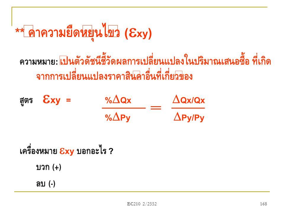 EC210 2/2552 ** ค่าความยืดหยุ่นไขว้ (  xy ) ความหมาย : เป็นตัวดัชนีชี้วัดผลการเปลี่ยนแปลงในปริมาณเสนอซื้อ ที่เกิด จากการเปลี่ยนแปลงราคาสินค้าอื่นที่เ