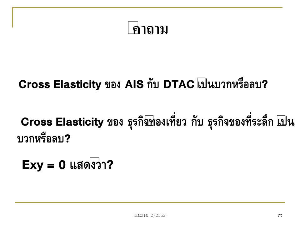EC210 2/2552 คำถาม Cross Elasticity ของ AIS กับ DTAC เป็นบวกหรือลบ ? Exy = 0 แสดงว่า ? Cross Elasticity ของ ธุรกิจท่องเที่ยว กับ ธุรกิจของที่ระลึก เป็