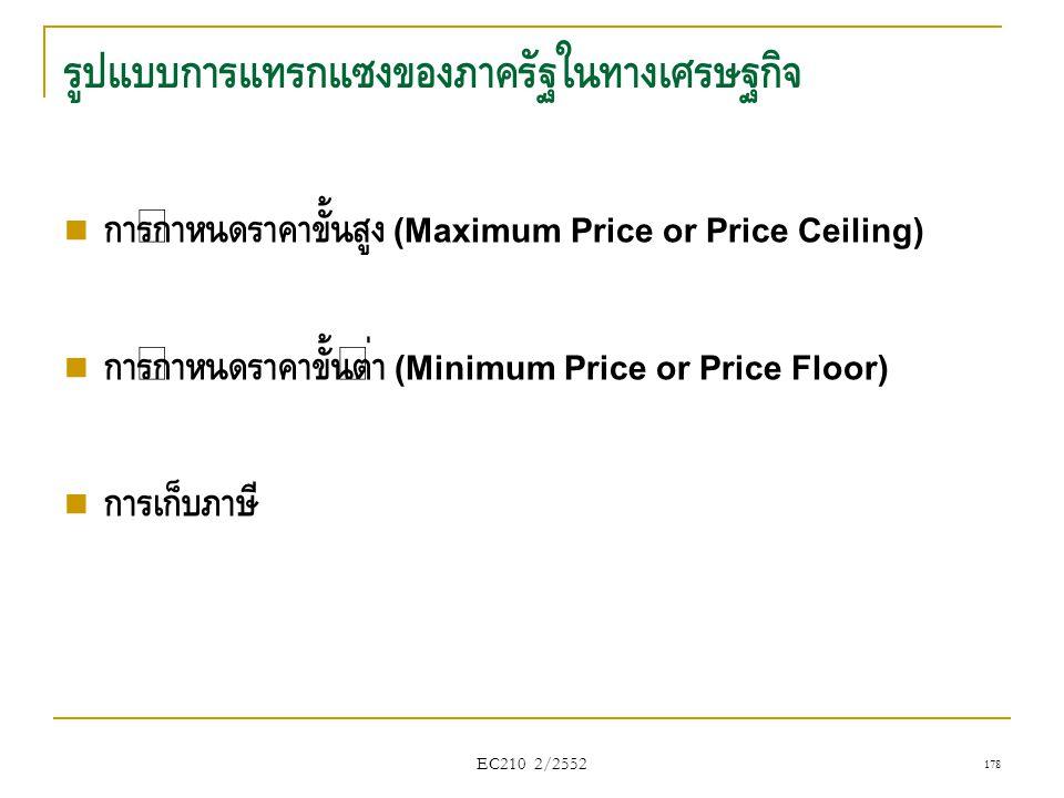 EC210 2/2552 รูปแบบการแทรกแซงของภาครัฐในทางเศรษฐกิจ  การกำหนดราคาขั้นสูง (Maximum Price or Price Ceiling)  การกำหนดราคาขั้นต่ำ (Minimum Price or Pri
