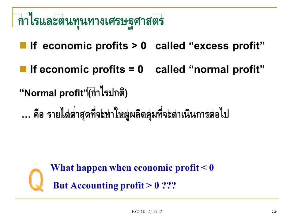 """กำไรและต้นทุนทางเศรษฐศาสตร์  If economic profits > 0 called """"excess profit""""  If economic profits = 0 called """"normal profit"""" """" Normal profit""""( กำไรปก"""