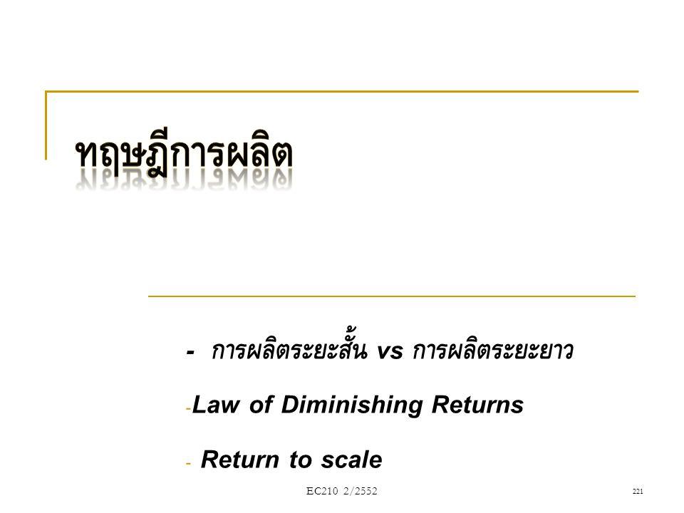 - การผลิตระยะสั้น vs การผลิตระยะยาว - Law of Diminishing Returns - Return to scale EC210 2/2552221