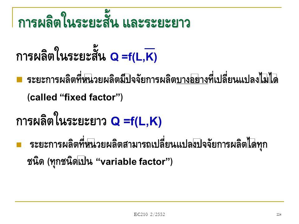 """การผลิตในระยะสั้น และระยะยาว การผลิตในระยะสั้น Q =f(L,K)  ระยะการผลิตที่หน่วยผลิตมีปัจจัยการผลิตบางอย่างที่เปลี่ยนแปลงไม่ได้ (called """"fixed factor"""")"""