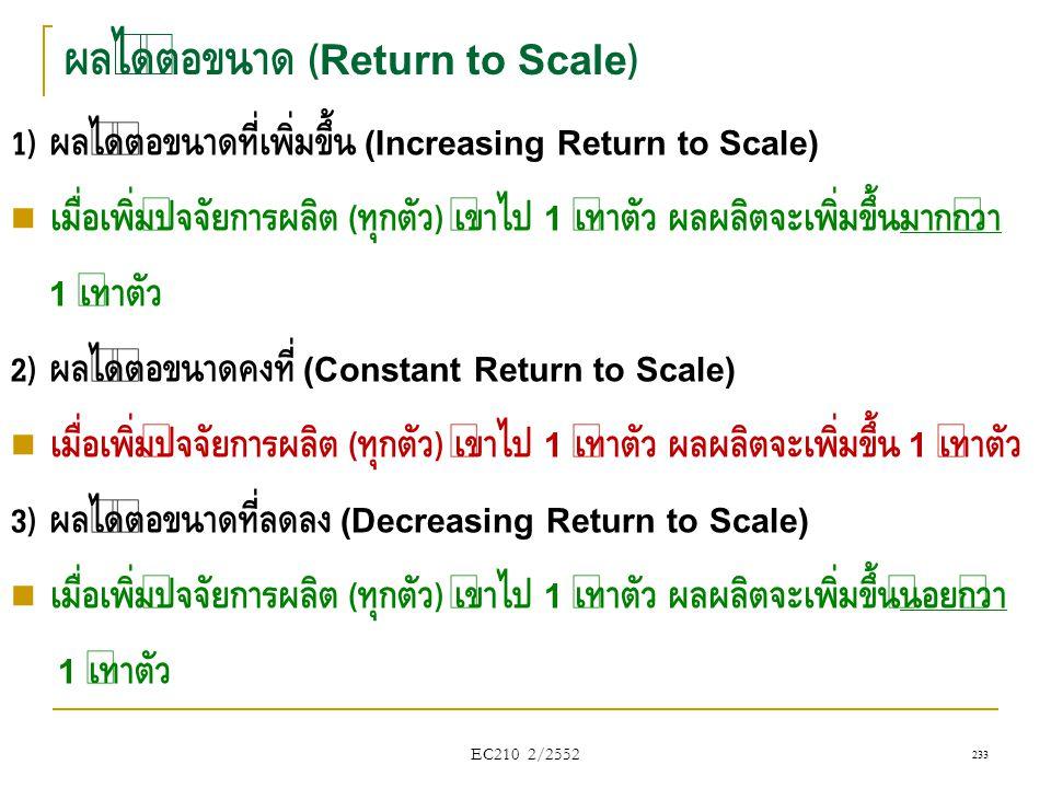 ผลได้ต่อขนาด (Return to Scale) 1) ผลได้ต่อขนาดที่เพิ่มขึ้น (Increasing Return to Scale)  เมื่อเพิ่มปัจจัยการผลิต ( ทุกตัว ) เข้าไป 1 เท่าตัว ผลผลิตจะ