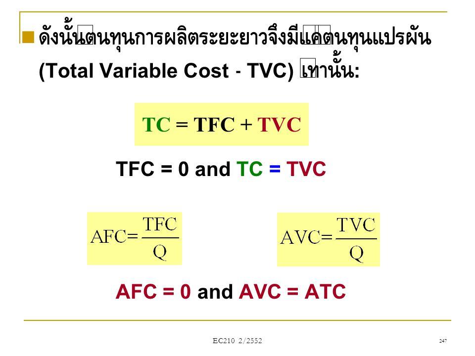  ดังนั้นต้นทุนการผลิตระยะยาวจึงมีแค่ต้นทุนแปรผัน (Total Variable Cost - TVC) เท่านั้น : TFC = 0 and TC = TVC AFC = 0 and AVC = ATC TC = TFC + TVC EC2