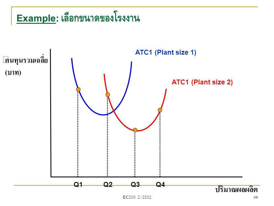 Example: เลือกขนาดของโรงงาน ต้นทุนรวมเฉลี่ย (บาท) ปริมาณผลผลิต Q1 Q2Q3 ATC1 (Plant size 1) Q4 ATC1 (Plant size 2) EC210 2/2552 249
