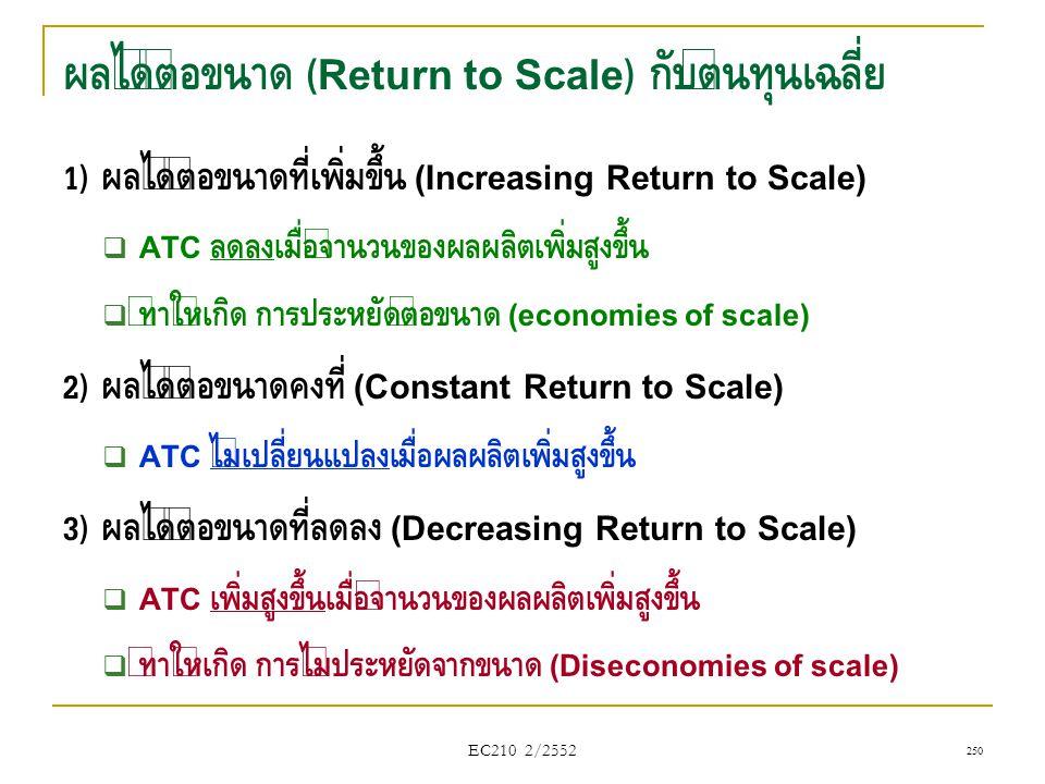 ผลได้ต่อขนาด (Return to Scale) กับต้นทุนเฉลี่ย 1) ผลได้ต่อขนาดที่เพิ่มขึ้น (Increasing Return to Scale)  ATC ลดลงเมื่อจำนวนของผลผลิตเพิ่มสูงขึ้น  ทำ
