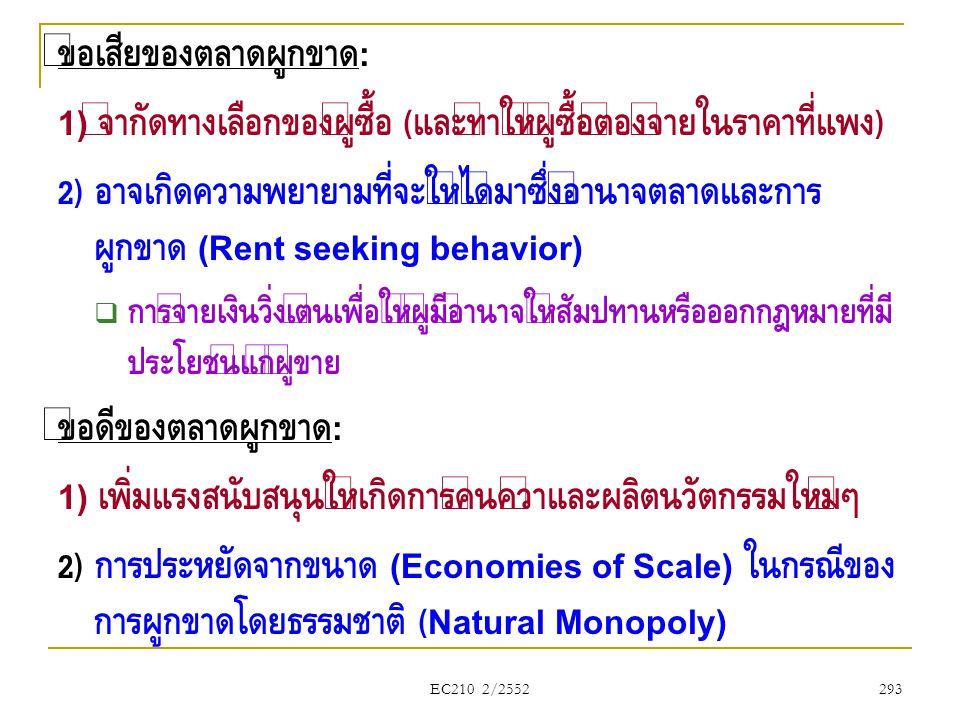 EC210 2/2552 ข้อเสียของตลาดผูกขาด : 1) จำกัดทางเลือกของผู้ซื้อ ( และทำให้ผู้ซื้อต้องจ่ายในราคาที่แพง ) 2) อาจเกิดความพยายามที่จะให้ได้มาซึ่งอำนาจตลาดแ