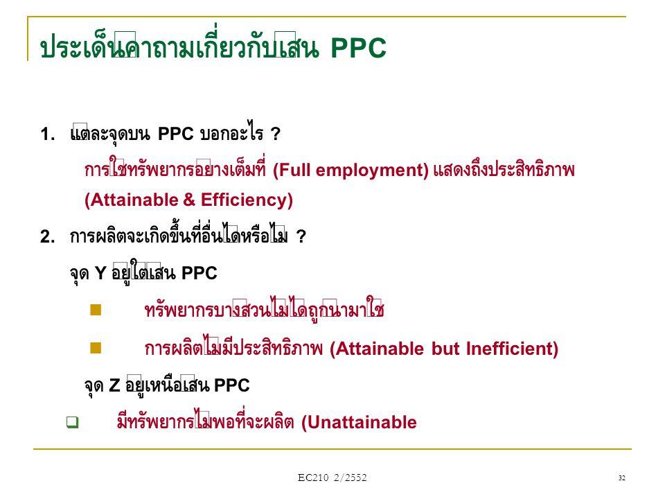EC210 2/2552 ประเด็นคำถามเกี่ยวกับเส้น PPC 1. แต่ละจุดบน PPC บอกอะไร ? การใช้ทรัพยากรอย่างเต็มที่ (Full employment) แสดงถึงประสิทธิภาพ (Attainable & E