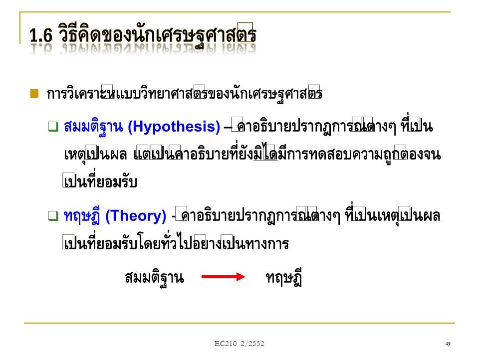 EC210 2/2552  การวิเคราะห์แบบวิทยาศาสตร์ของนักเศรษฐศาสตร์  สมมติฐาน (Hypothesis) – คำอธิบายปรากฎการณ์ต่างๆ ที่เป็น เหตุเป็นผล แต่เป็นคำอธิบายที่ยังม