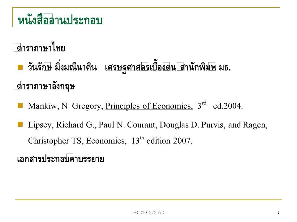EC210 2/2552 ดุลยภาพตลาด (Market Equilibrium) ดุลยภาพตลาด คือจุดที่ปริมาณเสนอซื้อ เท่ากับ ปริมาณเสนอขาย (D=S) ณ ดุลภาพจะเกิด ราคาดุลยภาพ (Equilibrium Price) ปริมาณดุลยภาพ (Equilibrium Quantity) Q: เกิดอะไรขึ้น ถ้า ราคาเปลี่ยนไปจากดุลยภาพ .