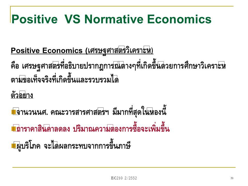 EC210 2/2552 Positive VS Normative Economics Positive Economics ( เศรษฐศาสตร์วิเคราะห์ ) คือ เศรษฐศาสตร์ที่อธิบายปรากฎการณ์ต่างๆที่เกิดขึ้นด้วยการศึกษ
